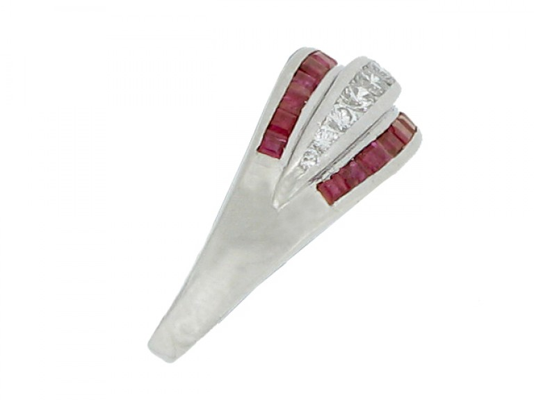 side view Ruby and diamond ring, circa 1950.