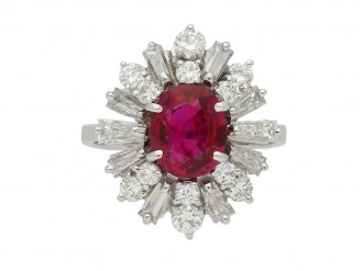 Ruby diamond coronet cluster ring berganza hatton garden