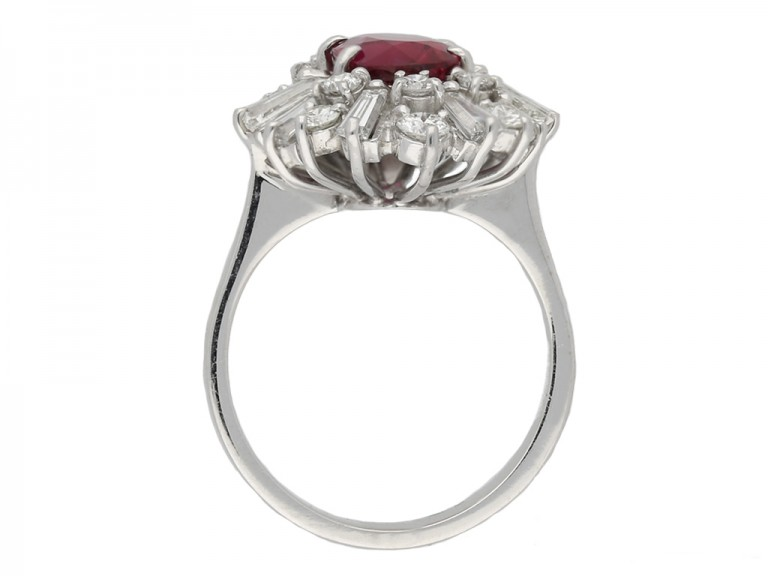 Ruby diamond coronet cluster ring berganza hatton garden