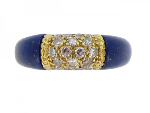front view Van Cleef & Arpels vintage lapis lazuli and diamond 'Philippine' ring, circa 1970.