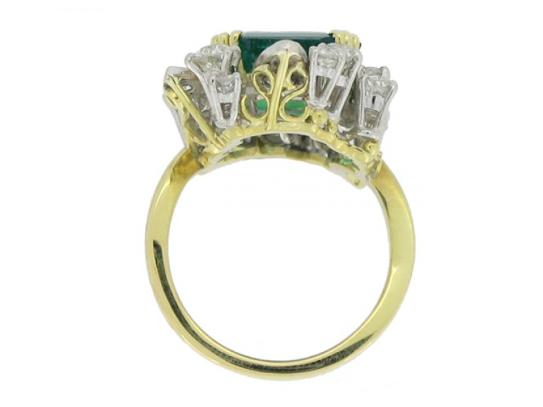 back view Emerald and diamond cluster ring, French, circa 1950.
