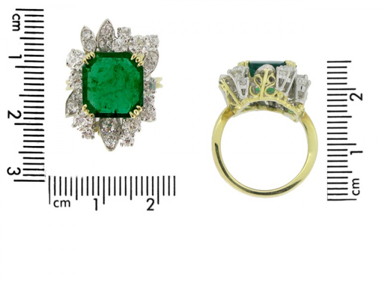 size view Emerald and diamond cluster ring, French, circa 1950.