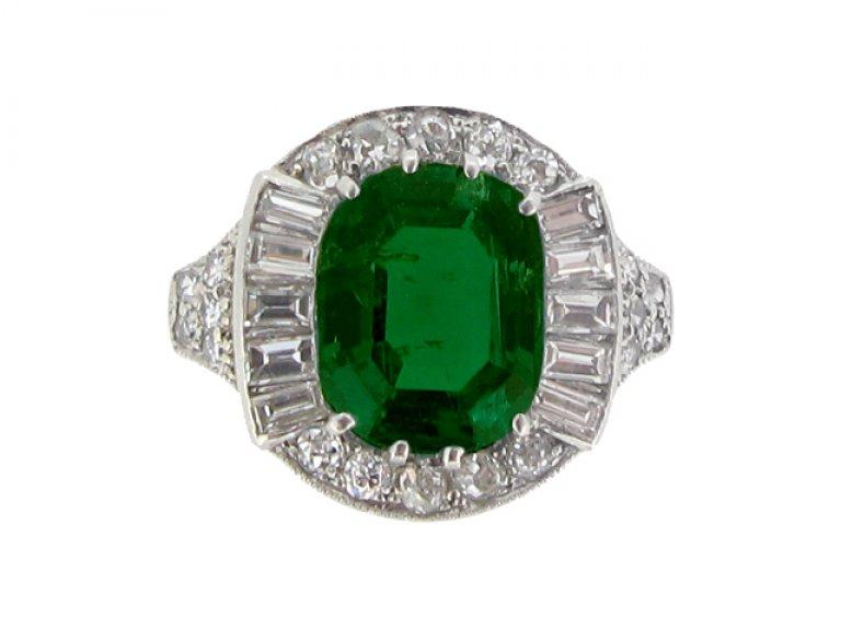 front view Art Deco emerald and diamond coronet cluster ring, circa 1925. berganza hatton garden