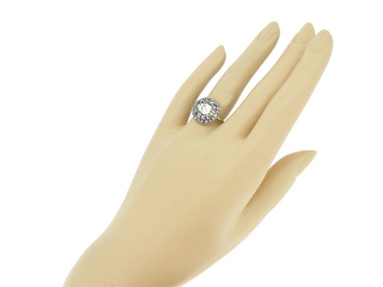 hand view Georgian two row diamond coronet cluster ring, circa 1740.