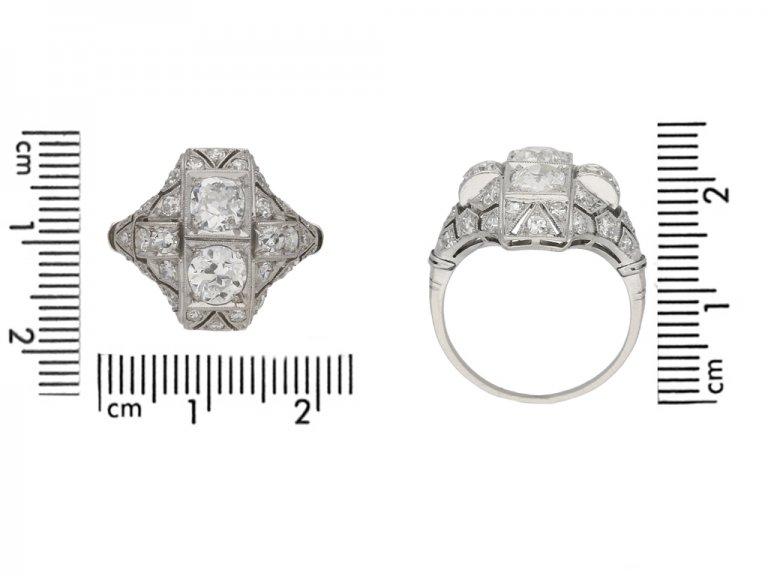 size view Art Deco diamond ring French berganza hatton garden