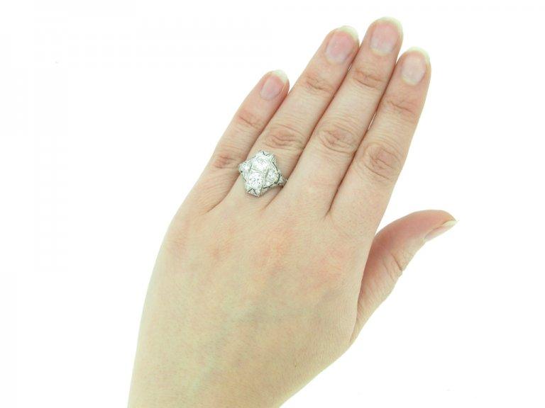hand view Art Deco diamond ring French berganza hatton garden