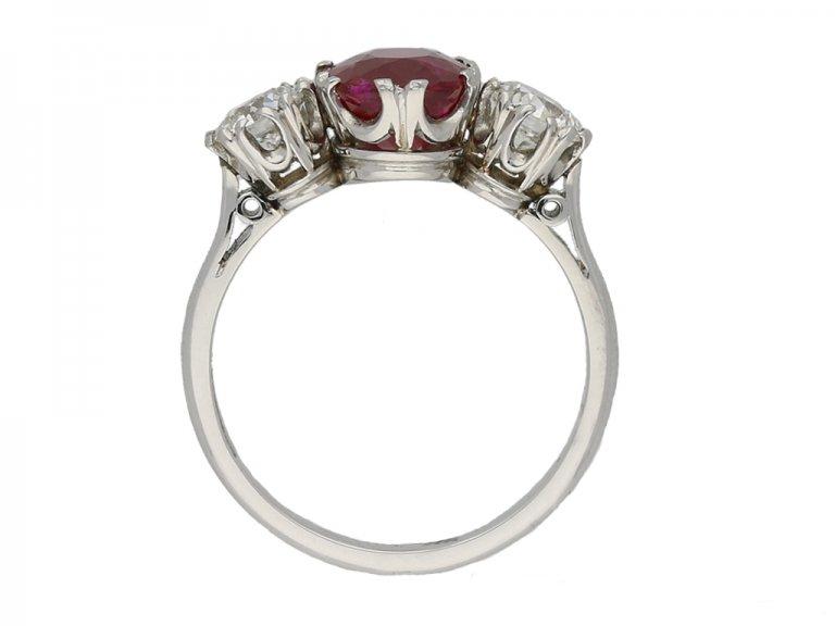 antique Ruby diamond three stone ring hatton garden berganza
