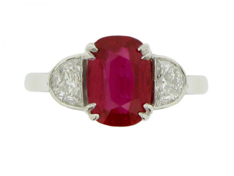 front view Art Deco natural Burmese ruby and diamond ring, circa 1935.