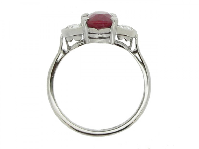 back view Art Deco natural Burmese ruby and diamond ring, circa 1935.