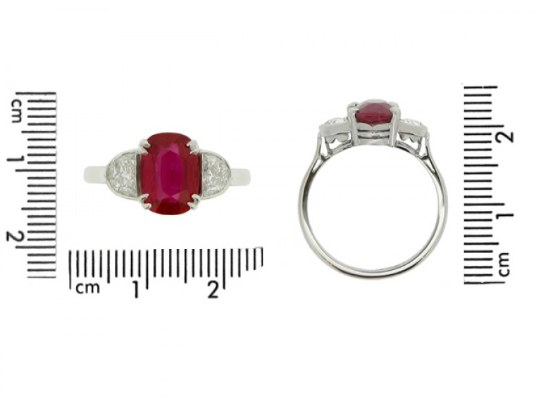 size view Art Deco natural Burmese ruby and diamond ring, circa 1935.