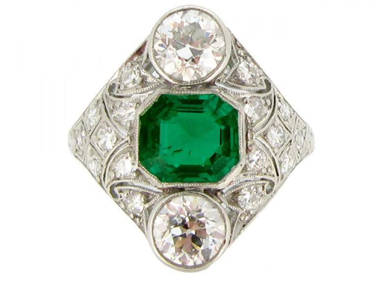 front view Art Deco emerald and