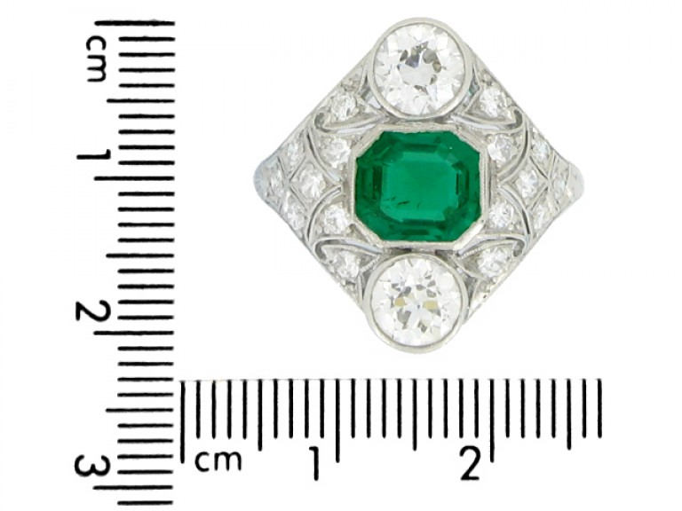 size view Art Deco emerald and diamond cluster ring, circa 1920.