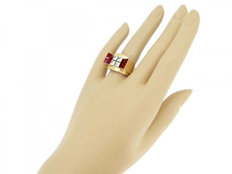 hand view Mauboussin ruby and diamond cocktail ring, French, circa 1940.
