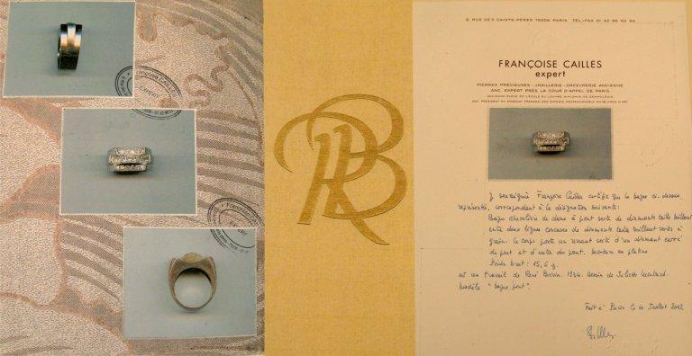 cert veiw René Boivin Art Deco diamond cocktail ring designed by Juliette Moutard, circa 1934.