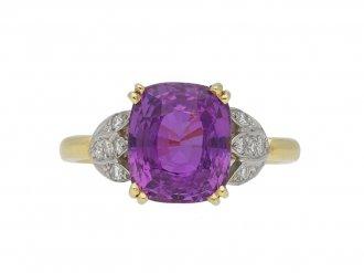 antique Purple sapphire and diamond ring berganza hatton garden