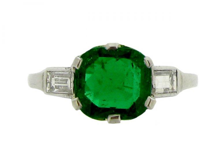 front view Art Deco emerald and diamond ring, circa 1925.
