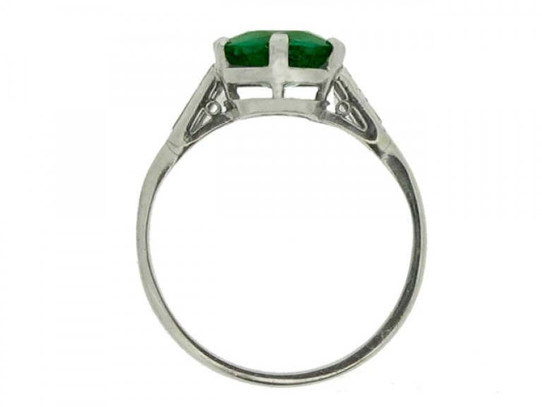 back view Art Deco emerald and diamond ring, circa 1925.