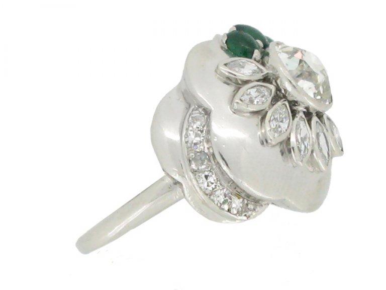 side view Seaman Schepps vintage diamond and emerald flower ring, American circa 1965.