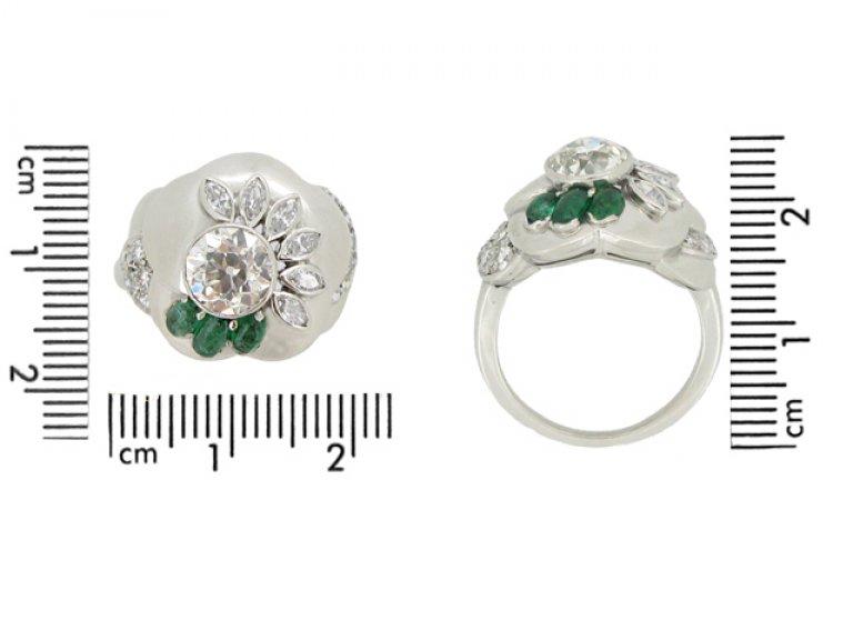 size view Seaman Schepps vintage diamond and emerald flower ring, American circa 1965.