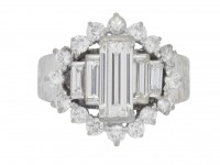 front view Vintage diamond cluste