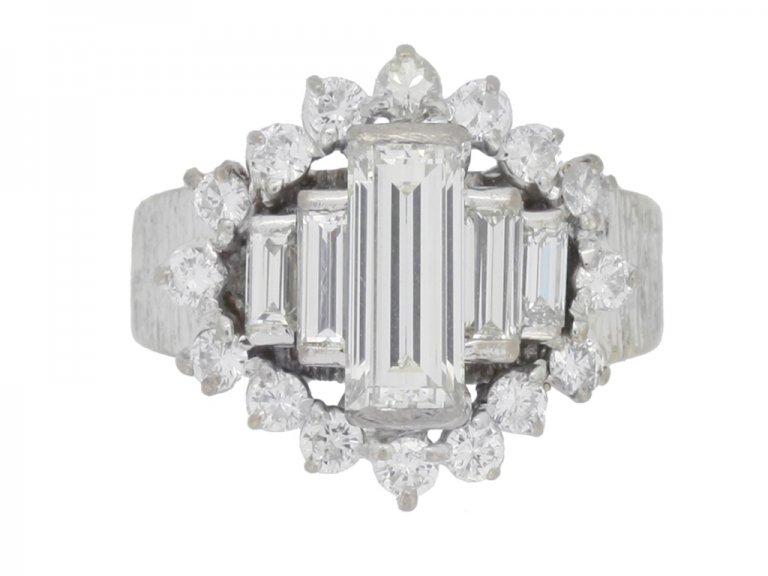 front view Vintage diamond cluste