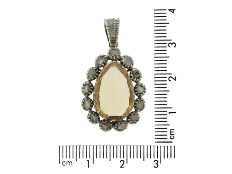 Early Victorian topaz and diamond pendant, circa 1840.