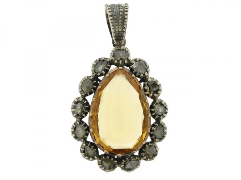 front view Early Victorian topaz and diamond pendant, circa 1840.
