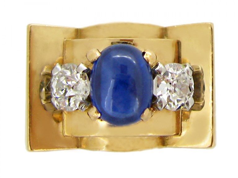 front view Chaumet sapphire and diamond ring, French, circa 1946.