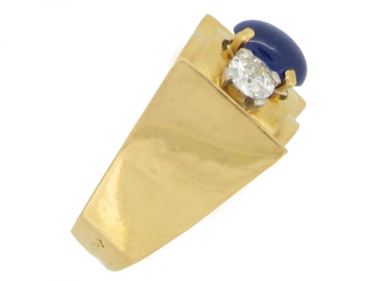 side view Chaumet sapphire and diamond ring, French, circa 1946.