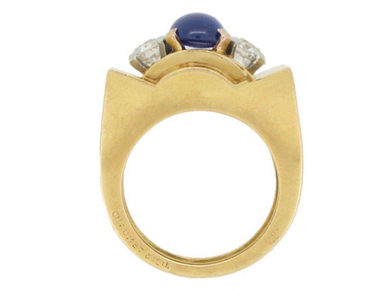 nack view Chaumet sapphire and diamond ring, French, circa 1946.