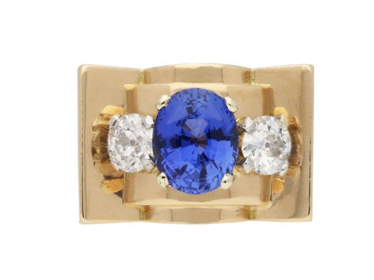 hand view Chaumet sapphire and diamond ring, French, circa 1946.