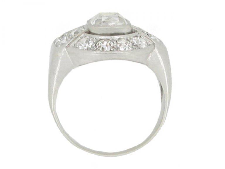 back view Art Deco diamond cluster ring