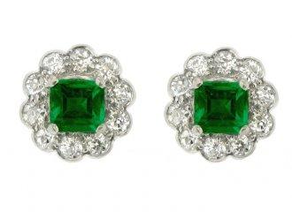 front view antique diamond emerald earrings ring berganza hatton garden