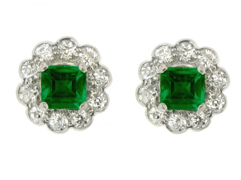 front view antique diamond emerald earrings ring berganza hatton garden
