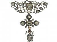 front view Georgian diamond brooch in silver