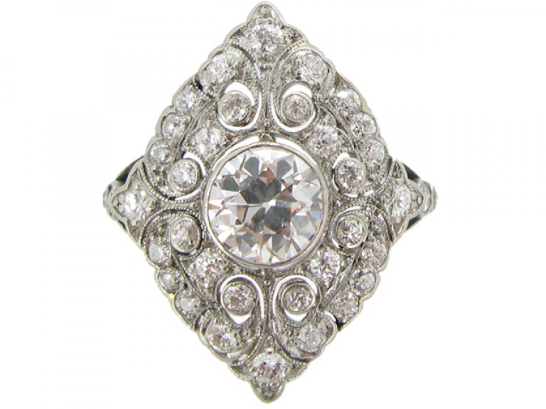 front view Ornate Edwardian diamond cluster ring, circa 1910.