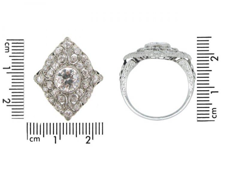 size view Ornate Edwardian diamond cluster ring, circa 1910.