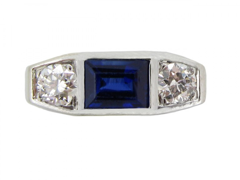 front view Art Deco sapphire and