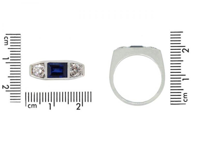 size view Art Deco sapphire and diamond three stone ring, French, circa 1935.