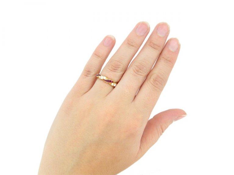 hand view Oscar Heyman Brothers ruby and diamond ring, American, circa 1950.