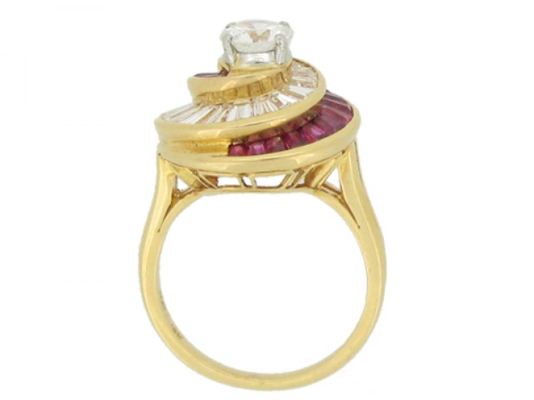 back view Oscar Heyman Brothers ruby and diamond ballerina ring, American, circa 1960.