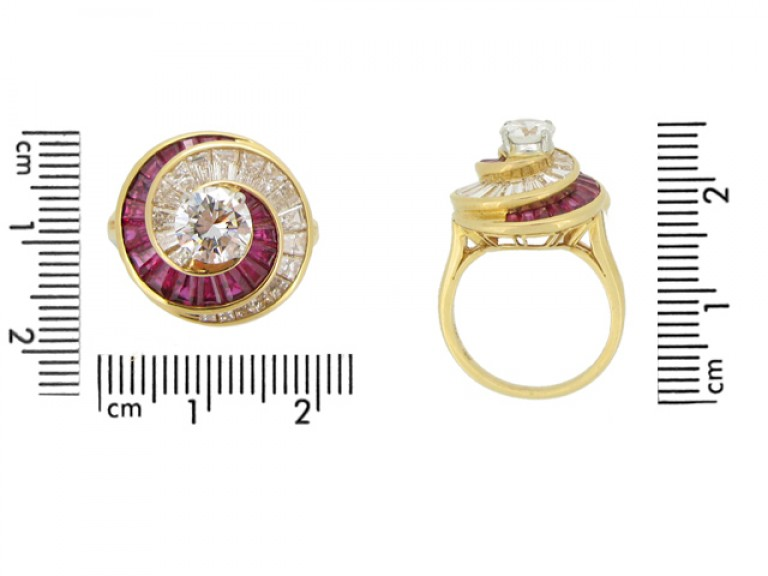 size view Oscar Heyman Brothers ruby and diamond ballerina ring, American, circa 1960.