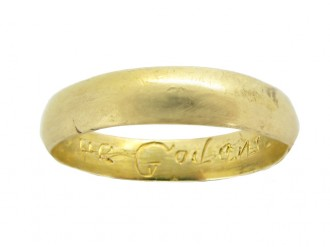 Gold posy ring 'Love God and me', circa 18th century.