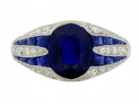 front view Art Deco sapphire and diamond ring, circa 1925. berganza hatton garden