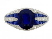 front view Art Deco sapphire and diamond ring, circa 1925. berganza hatton garden