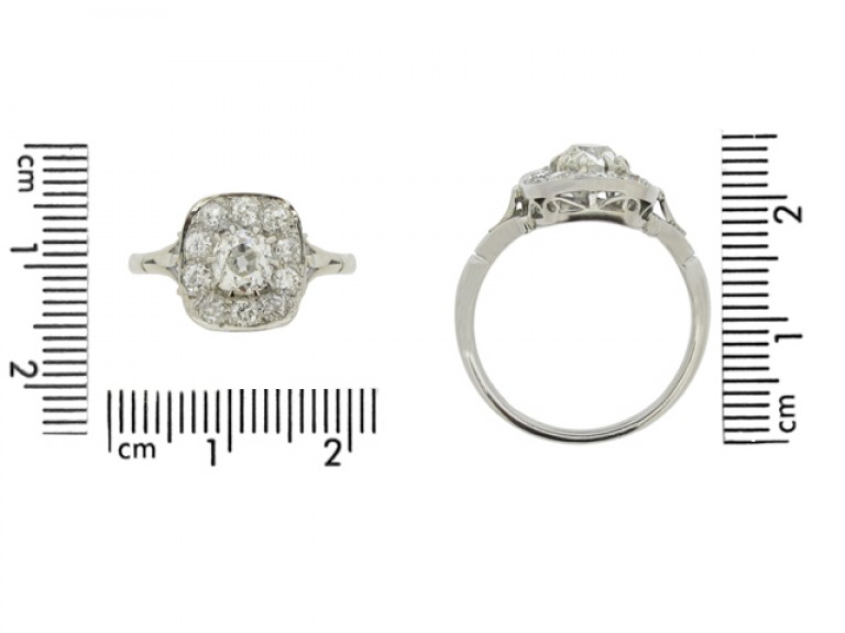 size view Cushion shape diamond coronet cluster ring,English circa 1920.