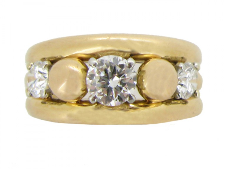 front view Vintage diamond cocktail ring, circa 1950.