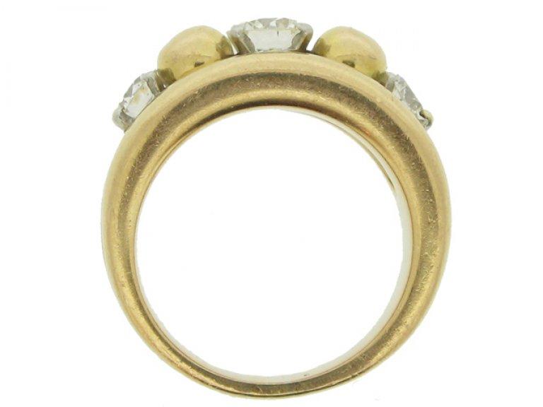 back view Vintage diamond cocktail ring, circa 1950.