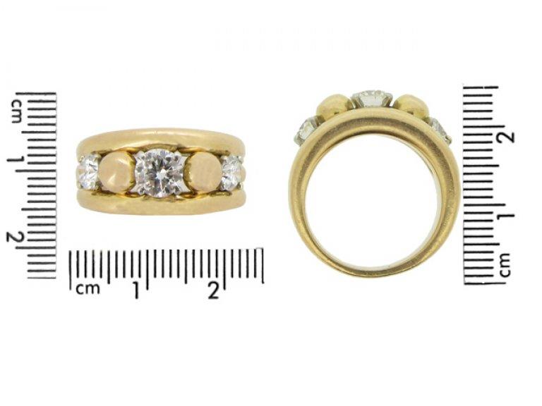 size view Vintage diamond cocktail ring, circa 1950.
