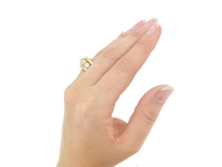 hand view Vintage diamond cocktail ring, circa 1950.